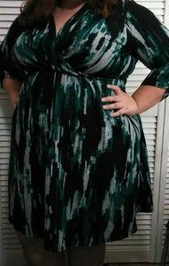 Avenue Turquoise, Black And White 3/4 Sleeve Dress